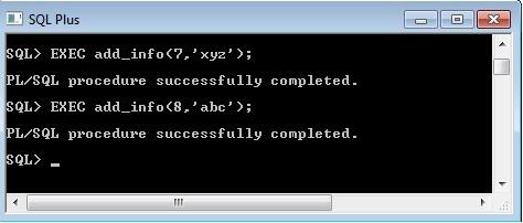 SQLplus Pl/SQL procedure