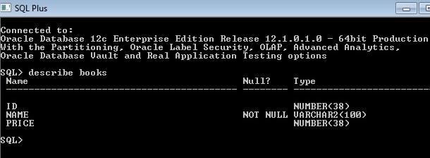 SQLplus Describe